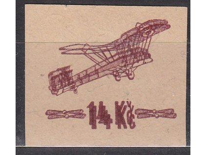 1920, 14Kč hnědá, ZT přetisku na lístku papíru, dvojitý tisk, zk.Mrňák