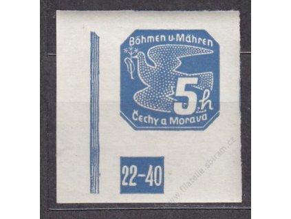 5h modrá, levý roh. kus s DČ 22-40, Nr.NV2, **