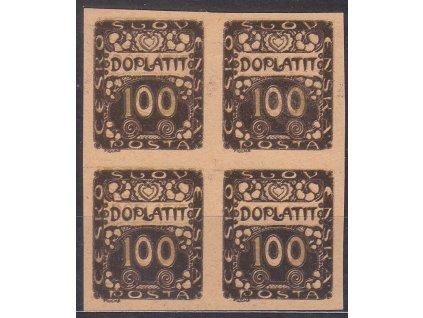 100h hnědá, ZT na nažloutlém papíru, 4blok, Nr.DL9, bez lepu