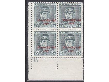 1939, 50h Štefanik, roh. 4blok s DČ 1A, Nr.9, **