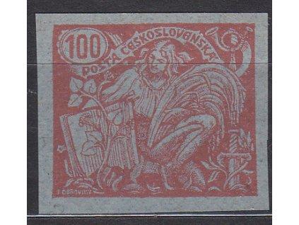 100h červená, nezoubkovaný ZT na namodralém papíru, Nr.173, bez lepu