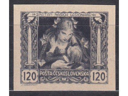 120h černá, nezoubkovaný ZT na nahnědlém papíru, zk.Vrba, Nr.32, bez lepu