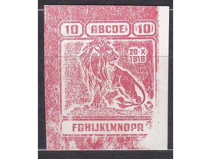 """Nerealizovaný návrh """"lev"""" 10h v barvě červené na známkovém papíru s lepem, tiskárna Hasse, * po nálepce"""