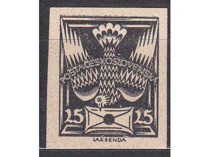 25h černá, nezoubkovaný ZT na nahnědlém papíru, I.typ, zk.Vrba, Nr.149, bez lepu
