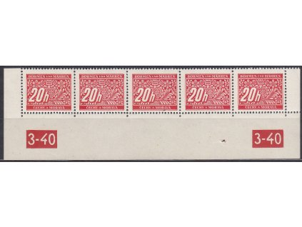 20h červená, 5pás s DČ 3-40, varianta Y-X, Nr.DL3, **