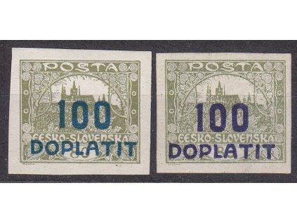 100/80h olivová, 2 ks modrý a fialový přetisk, Nr.DL24,24a * po nálepce