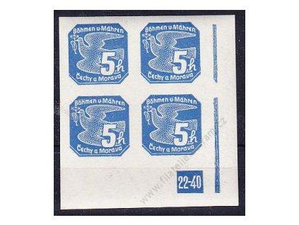 5h modrá, pravý roh. 4blok s DČ 22-40, Nr.NV2, **