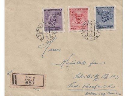1943, DR Praha, R-dopis, stopy pošt. provozu