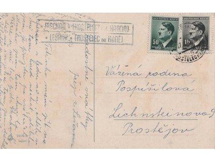 1943, DR Kostelec, pohlednice, poštovna Lešany (Kostelec),