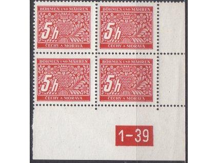 5h červená, pravý roh. 4blok s DČ 1-39, varianta X, Nr.DL1, **