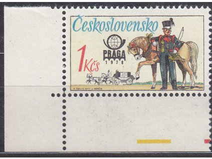 """1977, 1Kčs Postilion, DV - prodloužené """"K"""", rohový kus, Nr.2254, **"""