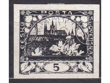 5h černá, ZT na křídovém papíru, Nr.3, bez lepu