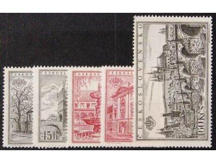 1955, 30h-1.60Kčs zoubkovaná série PRAGA 1955, Nr.853-57A, **