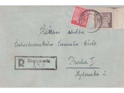Šternberk, R-dopis zaslaný v roce 1945 do Prahy