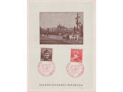 1945, Praha 10 Hrad, Oslavy 28.října, pamětní pohlednice