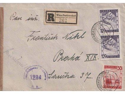1946, DR Wien-Purkersdorf, R-dopis zasl. do Prahy, cenzura