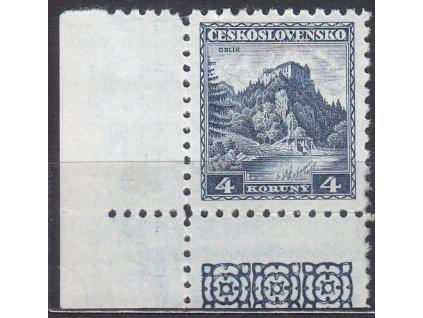 4Kč Orlík, levý dolní roh. okraj, Nr.266, * po nálepce
