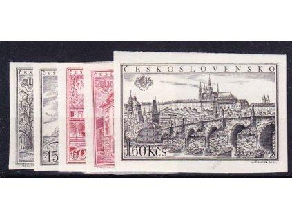 1955, 30h-1.60Kčs nezoubkovaná série z aršíku PRAGA 1955, Nr.853-7B, **