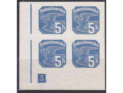 1937, 5h modrá, roh. 4blok s DČ 5 - přerušený rám, Nr.NV15, **