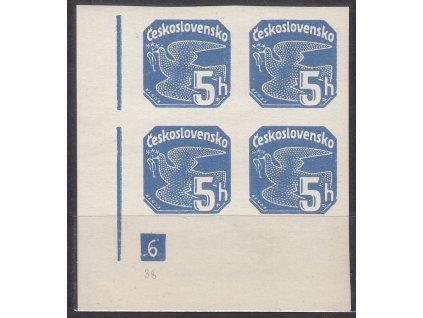 1937, 5h modrá, roh. 4blok s DČ 6 - přerušený rám, Nr.NV15, **/*