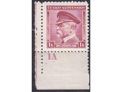 1K Masaryk, roh. kus s DČ 1A - vydání pro přetisk (tečka), **
