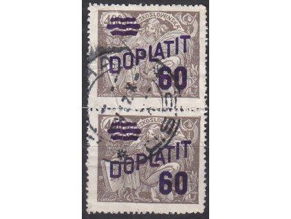 60/400h hnědá, 2páska s ST II+I, Nr.DL46, razítkované, vlomy