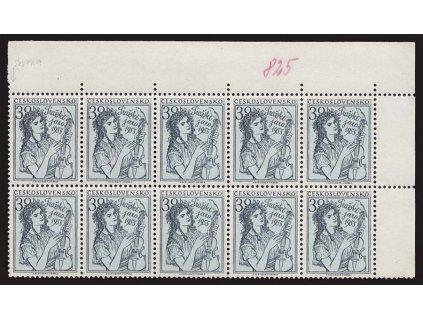 1955, 30h Pražské jaro, VV - skvrnky v rámu, 10blok, Nr.825, **