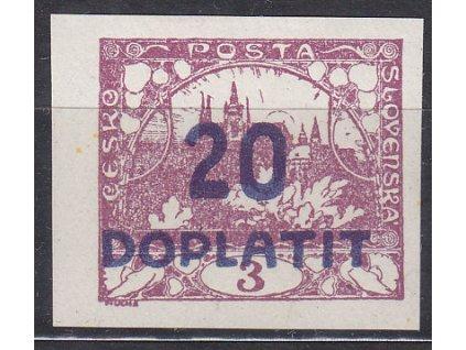 1922, 20/3h fialová, posun přetisku mimo hodnotu, Nr.DL16, * po nálepce
