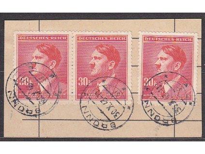 Výstřižek z úřední podací knihy s 3násobnou frank. 30K Hitler, razítko BRNO 30.10.43, vysoká