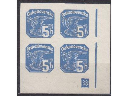 1937, 5h modrá, roh. 4blok s DČ 38 - přerušený rám, Nr.NV15, **