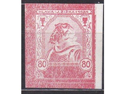 Nerealizovaný návrh J.Žižka 80h v barvě červené na známkovém papíru s lepem, tiskárna Hasse, * po nálepce