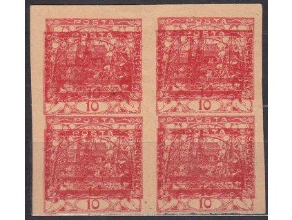 10h červená, ZT, nahnědlý papír, 4blok, dvojitý tisk, Nr.5, bez lepu