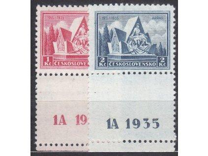 1-2Kč Arras, dolní kupony s DČ 1A, Nr.289-90, * po nálepce
