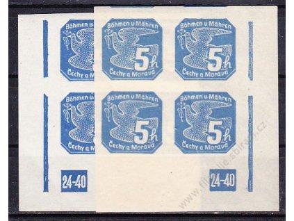 5h modrá, roh. 4blok s DČ 24-40, L+P, Nr.NV2, **