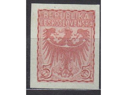 Návrh na čs. kolek 5h v červené barvě na namodralém papíru bez lepu, cca 1920