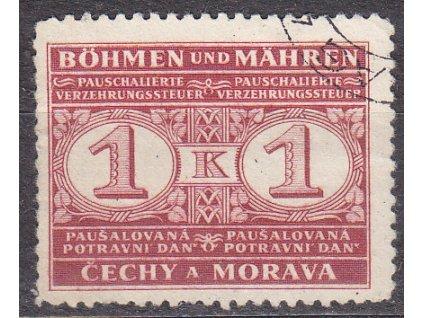 1940, 1K Potravní daň, Nr.PD1, razítkované