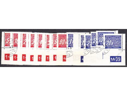 5h-20K Doplatní série, roh. kusy s DČ, různé DČ a okraje, Nr.DL1-14, razítkované