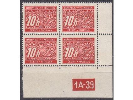 10h červená, pravý roh. 4blok s DČ 1A-39, varianta X, Nr.DL2, **