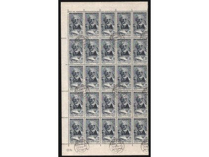 1960, 60h Mucha, polovina archu, Nr.1154, razítkované, přeloženo