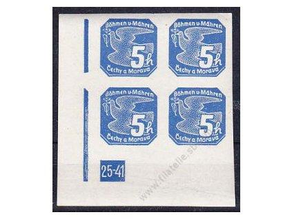 5h modrá, levý roh. 4blok s DČ 25-41, Nr.NV2, **