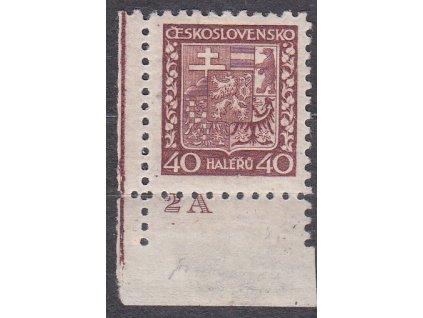 1929, 40h Znak, pergamenový papír, rohový kus s DČ 2A, Nr.253x, * po nálepce