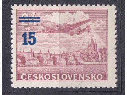 1949, 15/24Kčs fialovočervená, světle modrý přetisk, **