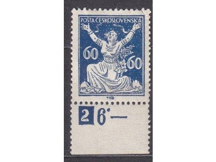 60h modrá, kraj. kus s DČ 2, Nr.157, * po nálepce
