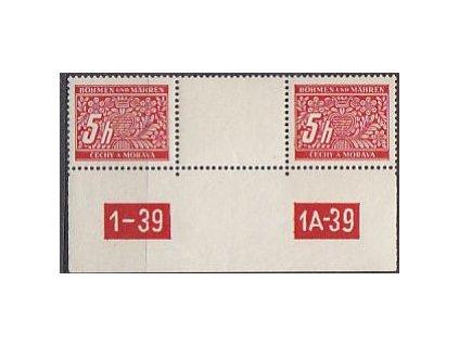 5h červená, meziarší s DČ 1-39 1A-39, Nr.DL1, **