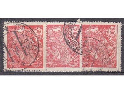 300h červená, 3 ks, malé složky, Nr.166, razítkované