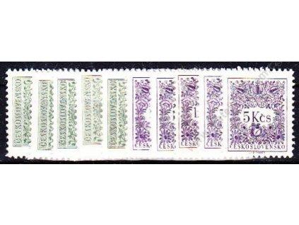 1963, 5h-5Kčs Doplatní II, rámcové zoubkování 11 1/4:11 3/4, Nr.D79-91B, 10hodnot, **