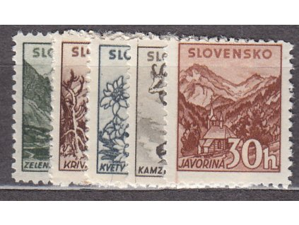 1940, 5-30h Tatranské, s průsvitkou, série, Nr.47-51Y, **, ilustrační foto