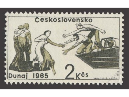 1965, 2Kčs Pomoc, VV - tečka nad rukou, ** , dv roh