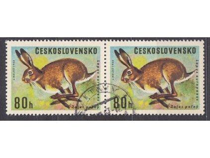 1966, 80h zajíc, 2páska s ST I+II, Nr.1570, razítkované, ilustrační foto