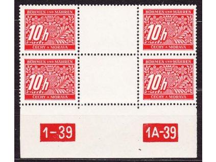 10h červená, 2známkové meziarší s DČ 1-39, **